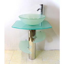Kokols Bathroom Vanity Pedestal and Frosted Glass Vessel Sink Combo Set