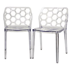 Honeycomb Clear Acrylic Modern Dining Chair (Set of 2)