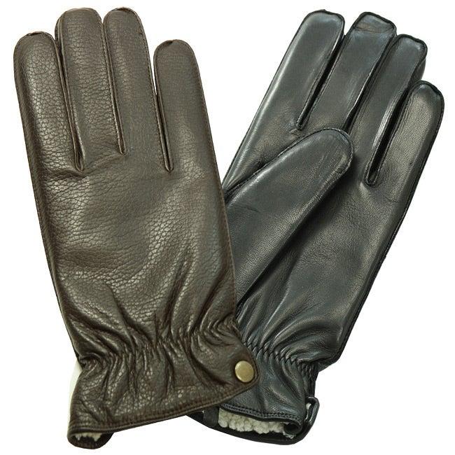 Isotoner Men's Fleece Lined Leather Gloves