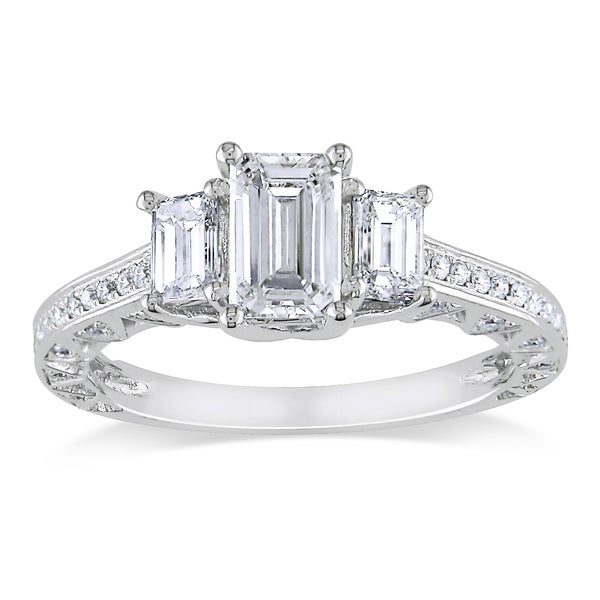 Miadora 18k White Gold 1 3/5ct TDW Emerald Cut Certified Diamond Ring (F-G, SI1)