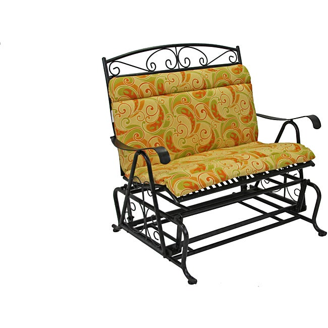 All-Weather Yellow Paisley Outdoor Double Glider Chair ...