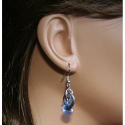 CGC Silvertone Swirling Cubic Zirconia Dangle Earrings
