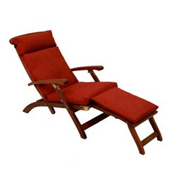 Blazing Needles Solid All-weather Outdoor Steamer Deck Lounger Cushion