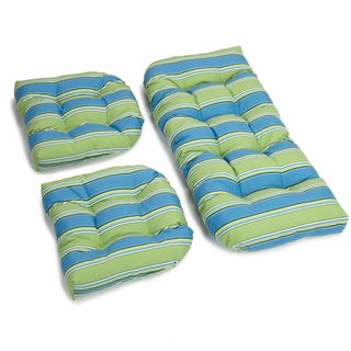 Blazing Needles Patterned All-weather U-shaped Outdoor 3-piece Settee Bench Cushion Set