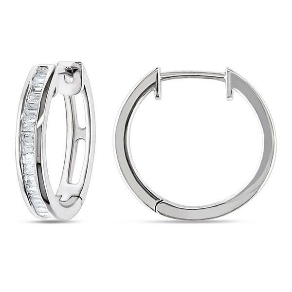 Haylee Jewels Sterling Silver 1/3ct TDW Baguette Cut Diamond Hoop Earrings