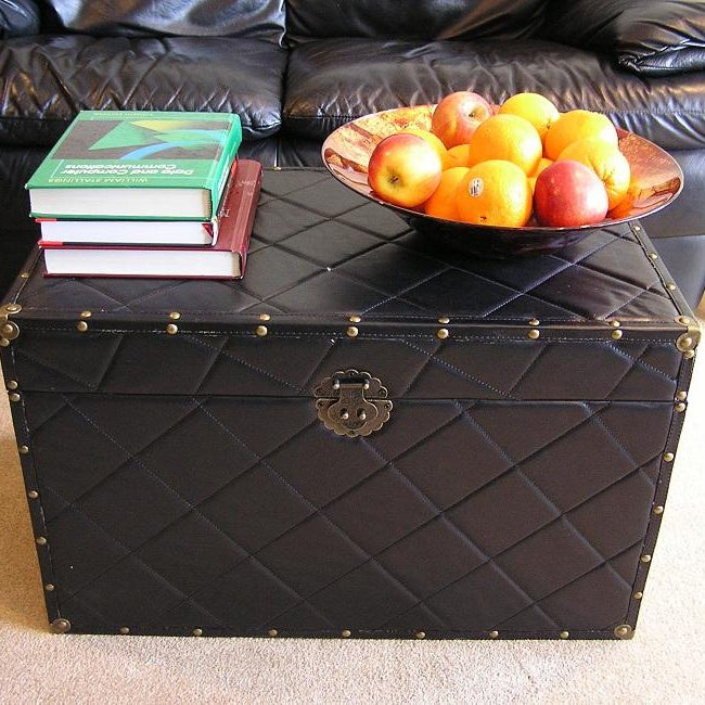 Black Faux Leather Large Wood Steamer Trunk