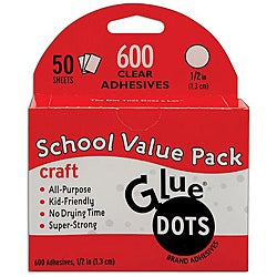 Glue Dots School Value Pack 0.5-inch Craft Dots (Case of 50 sheets)
