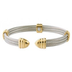 Sabona Classic Cable Stainless Steel and 18k Gold-plating Magnetic Bracelet