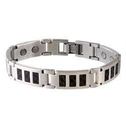 Sabona Black Carbon Fiber Stainless Medium Magnetic Bracelet
