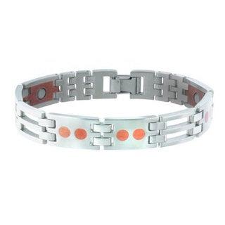 Sabona Stainless Steel and Copper Link Magnetic Bracelet