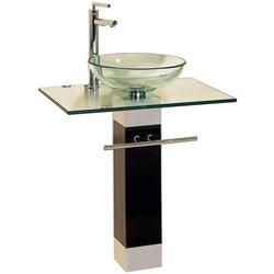 Bathroom Vanities Wood Pedestal Glass Vessel Sink Combo