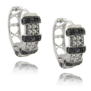 Finesque Sterling Silver Black and White Diamond Accent Ribbon Hoop Earrings