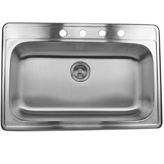 Stainless Steel 33-inch Self Rimming Drop-in Single Bowl Kitchen Sink