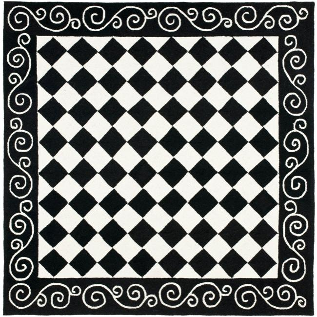 Safavieh Hand-hooked Diamond Black/ Ivory Wool Rug (6' Square)