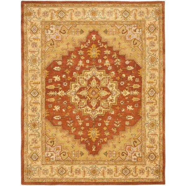 Safavieh Handmade Heritage Medallion Rust/ Gold Wool Rug (7'6 x 9'6)