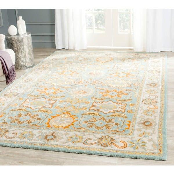 Safavieh Handmade Heritage Treasures Light Blue/ Ivory Wool Rug (6' x 9')
