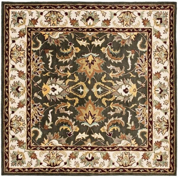 Safavieh Handmade Heritage Mahal Black/ Ivory Wool Rug (6' Square)