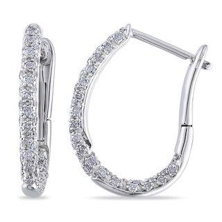 1/2 CT Diamond TW Ear Pin Earrings 10k White Gold GH I2;I3