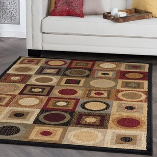 Ivory/ Multi Abstract Area Rug (7'6 x 9'10)