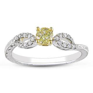 Miadora 14k Two-tone Gold 1/3ct TDW Yellow and White Diamond Ring (G-H, I2)