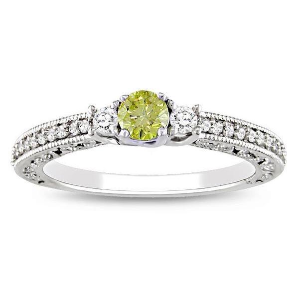 Miadora 14k White Gold 1/2ct TDW Yellow and White Diamond Ring (G-H, I2)
