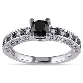 Miadora Sterling Silver 1ct TDW Black and White Diamond Ring (G-H, I3)
