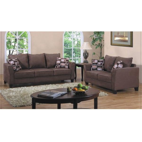 Fountain Valley Dark Brown Microfiber Sofa and Love Seat Set