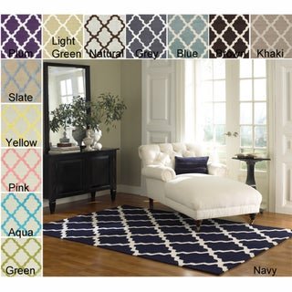 Hand-hooked Alexa Moroccan Trellis Wool Rug (5' x 8')