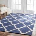 Handmade Moroccan Lattice Navy Wool Rug (5' x 8')