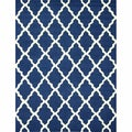 Handmade Moroccan Lattice Navy Wool Rug (7'6 x 9'6)