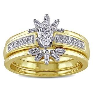 Miadora 14k Yellow Gold 1/2ct TDW Diamond Bridal Ring Set (E-F, I1-I2)