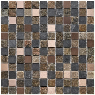 Somertile Granstone Alloy 1-inch Copper Rosa Stone and Metal Mosaic Tiles (Pack of 10)