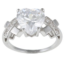 Kate Bissett Rhodiumplated White Cubic Zirconia Heart Ring