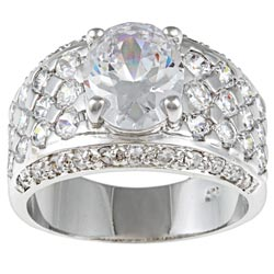 Kate Bissett Silvertone Clear Cubic Zirconia Wedding-style Ring