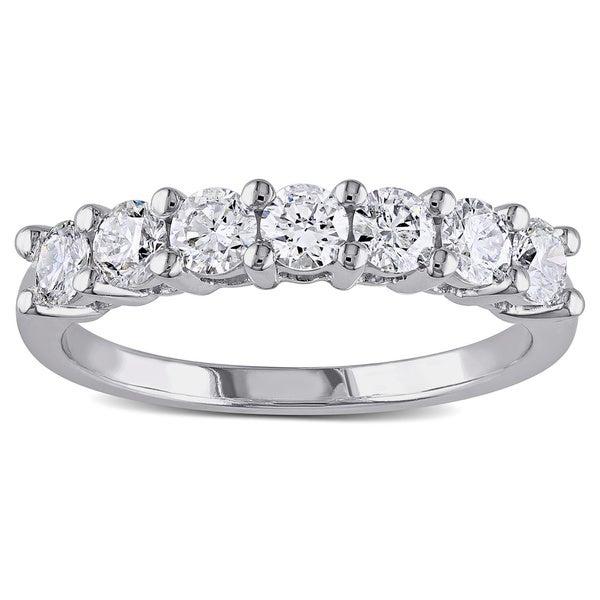 Miadora 14k White Gold 1ct TDW 7-Stone Certified Diamond Ring (G-H, SI1-SI2)