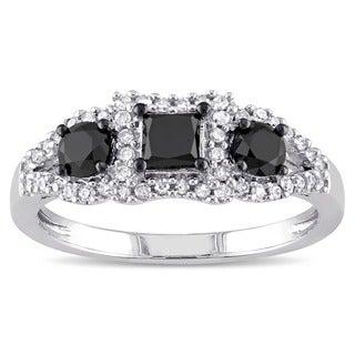 Miadora 10k White Gold 1ct TDW Black and White Diamond 3-stone Halo Ring (G-H, I3)