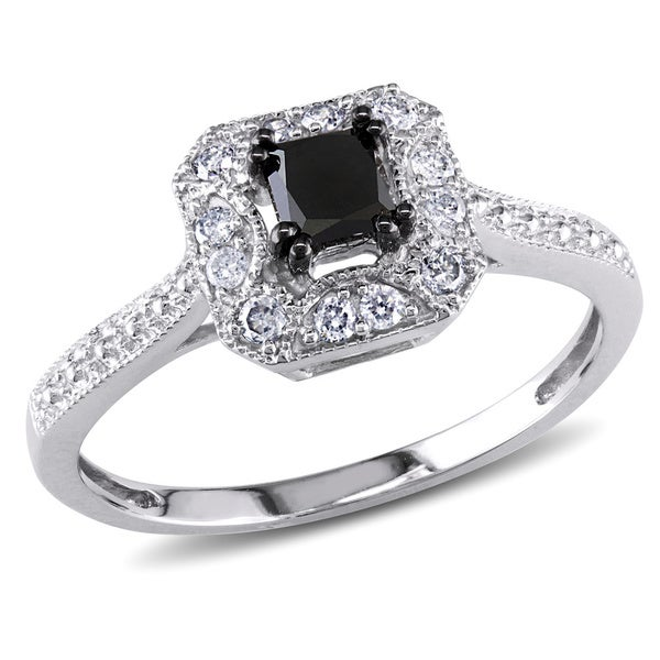 3/5 CT Black and White Princess and Round Diamonds TW Fashion Ring 10k White Gold GH I2;I3 Black Rhodium Plated