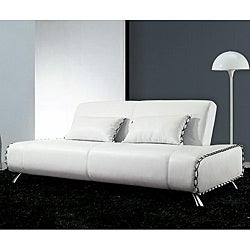 Furniture of America Lucas White Leather Sleeper Sofa Bed