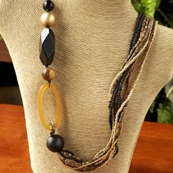 Golden Horn Medallion and Wood Bead Multi-strand Necklace (Philippines)
