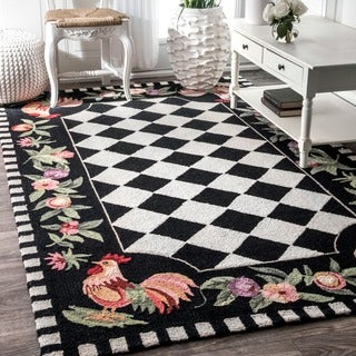 nuLOOM Hand-hooked Moroccan Rooster Checkered Wool Rug (7'6 x 9'6)