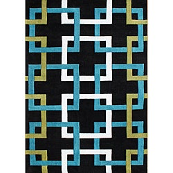 Alliyah Handmade Black Puzzle New Zealand Blend Wool Rug