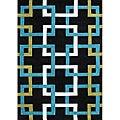 Alliyah Handmade  Black Puzzle New Zealand Blend Wool Rug