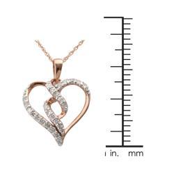 10k Rose Gold 1/4ct TDW Diamond Twisted Heart Necklace (I-J, I2-I3)