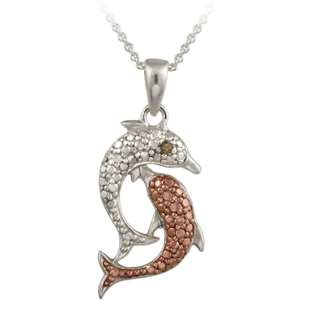 DB Designs Rose Gold over Silver Champagne Diamond Accent Dolphin Necklace