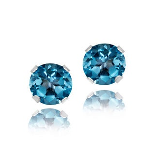 Glitzy Rocks Sterling Silver 4mm Gemstone Stud Earrings