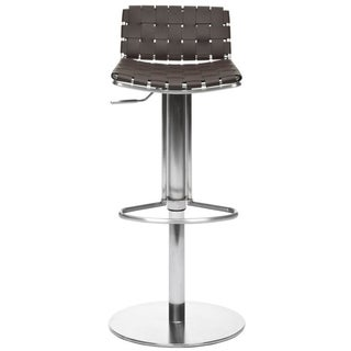 Safavieh Deco Brown Leather Seat Stainless Steel Adjustable Bar Stool
