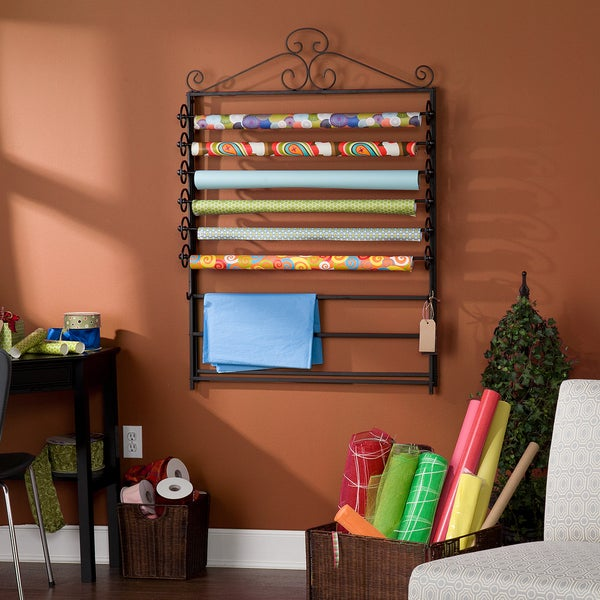Upton Home Leal Black Wrapping Paper & Craft Storage Rack