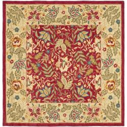 Safavieh Handmade Boitanical Red/ Ivory Wool Rug (8' Square)