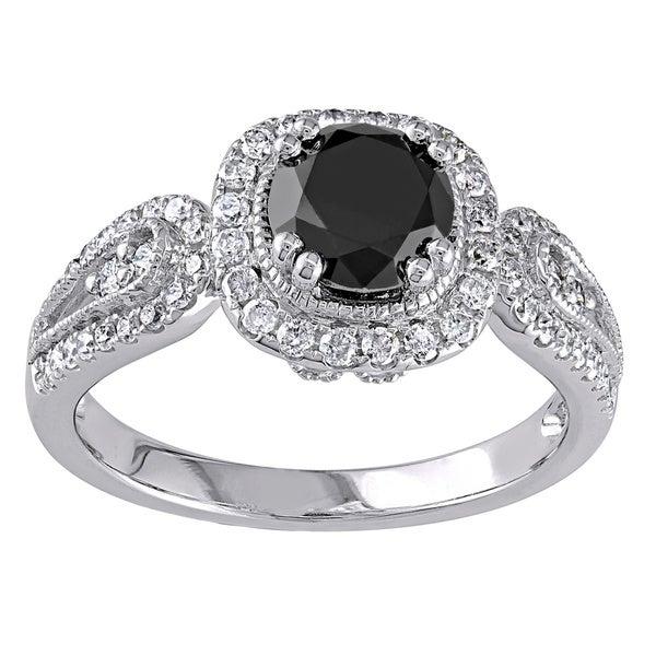 Miadora 14k Gold 1 1/2ct TDW Black and White Diamond Engagement Ring (G-H, I2)