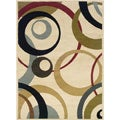 Ivory Geometric Cirlces Area Rug (5' x 7'3)